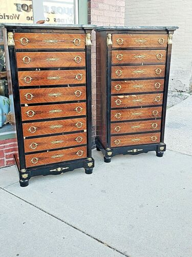 French Empire Egyptian vintage inlay 8 drawer tall chest dresser w / marble top