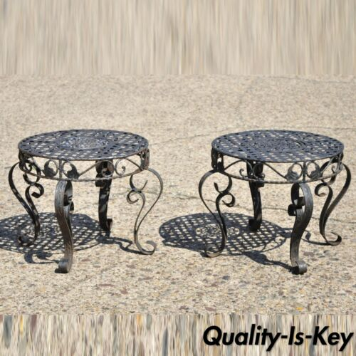 French Art Nouveau Style Wrought Iron Lattice Top Round Side Tables - a Pair
