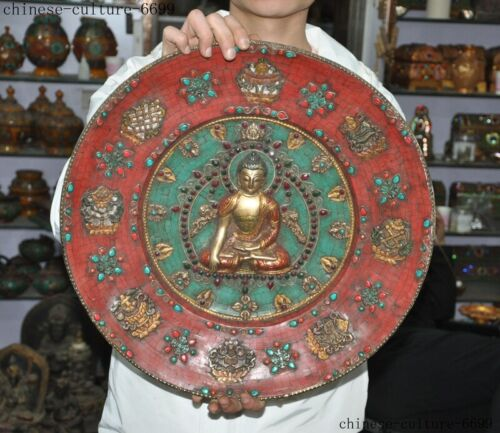 Bronze Silver Filigree Inlay turquoise Coral gem Sakyamuni Pallets Wall hanging