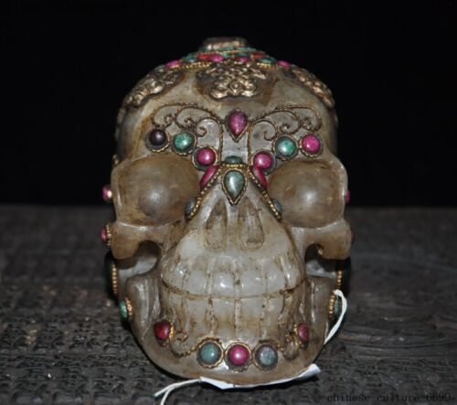 Tibet natural crystal Inlay silver Filigree gem Skeleton Skull death-head Statue
