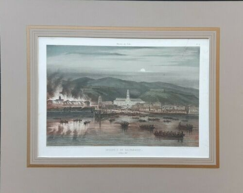 Chile Rugendas Claudio Gay1854 Lithography Valparaiso