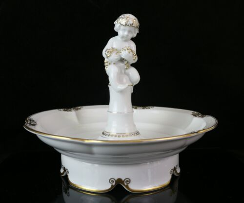 Antique Hutschenreuther Germany Boy with Grape Footed Bowl Porcelain Figurine