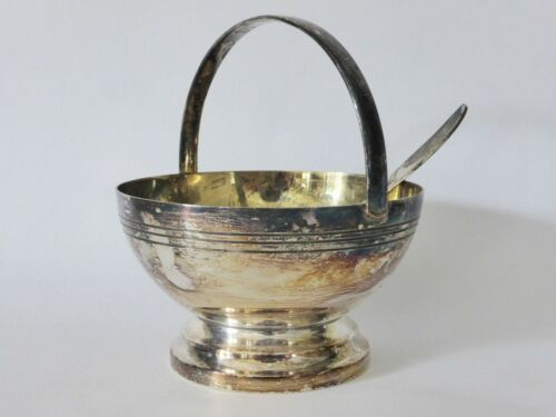Silver Plated Albion Sugar Basket with Spoon, EPNS Tableware, 1930s Kitchen Deco