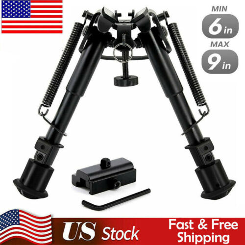 6-9 Inch Tactical Bipod 360° Picatinny Mount Adapter 5 Notch Legs Spring Tension