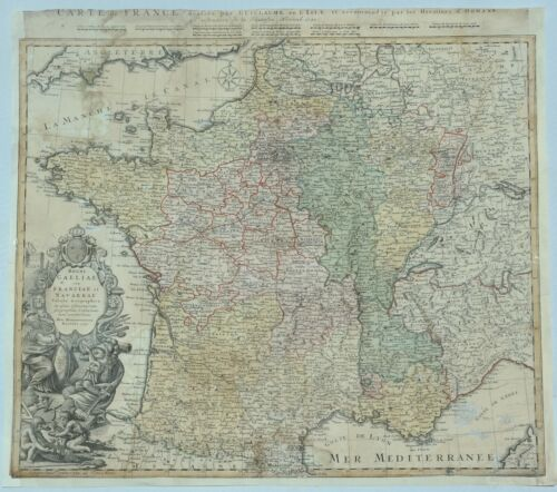 Original Copper Engraved Map of France - REGNI GALLIAE  by Homann Heirs - 1741