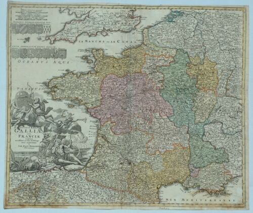 Engraved Map of France - TOTIUS REGNI GALLIAE SIVE FRANCIAE  by Homann - c1720