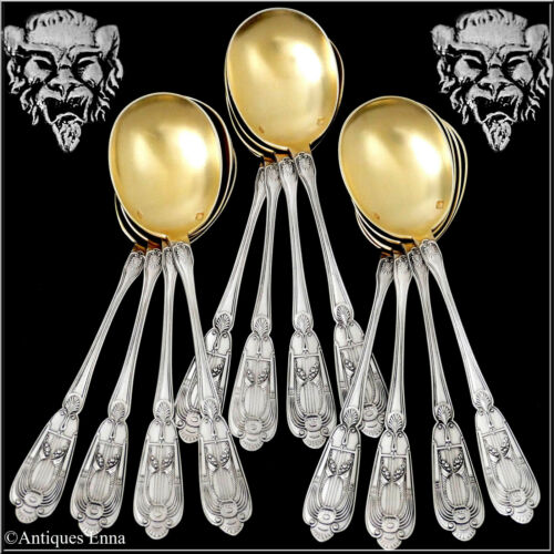 Soufflot French Sterling Silver 18k Gold Ice Cream Spoons Set 12 Pc, Empire