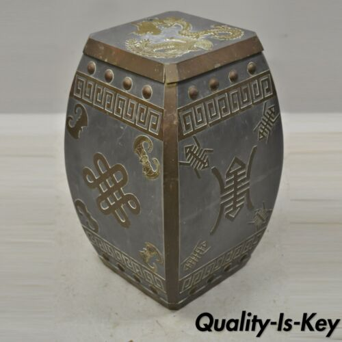 Mid 20th C Chinese Oriental Pewter & Brass Garden Drum Stool Drinks Table