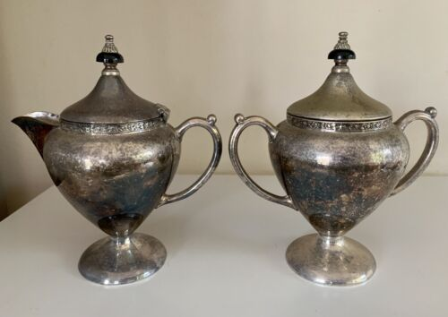 Vintage Silver Plated Sugar Bowl and Creamer PARAMOUNT EPNS A1