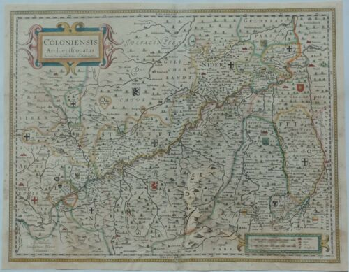 Copper Engraved Map of Germany - COLONIENSIS ARCHIEPISCOPATUS  by Bleau in 1635