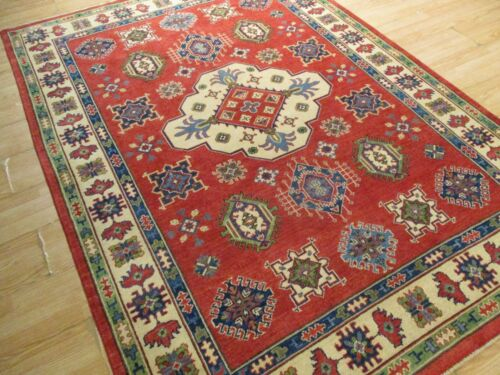 5x8 SUPER TRIBAL GEOMETRIC NATURAL VEGETABLE DYE HAND-KNOTTED WOOL RUG 584027