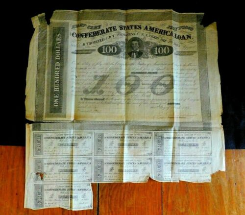 Confederate Civil War Loan $100 1863 Bond With CouponsDocuments - 165589