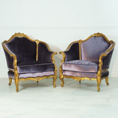 Pair of French Mahogany Heavily Carved Arm Chairs gold leaf purple upholstery