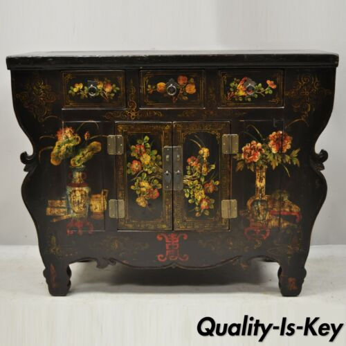 20th C Korean Altar Style Side Cabinet Black Hand Painted Commode Console Table