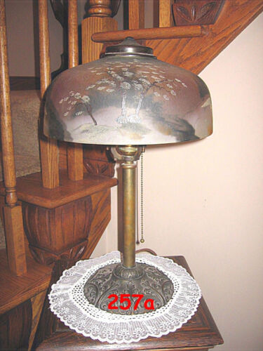 ANTIQUE PITTSBURGH  REVERSE PAINTED AND OBVERSE PAINTED LAMP - SIGNED