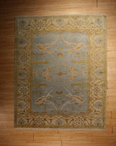8x10 OUSHAK Allover-Pattern MUTED Vegetable Dye Handmade-knotted Wool Rug 580119
