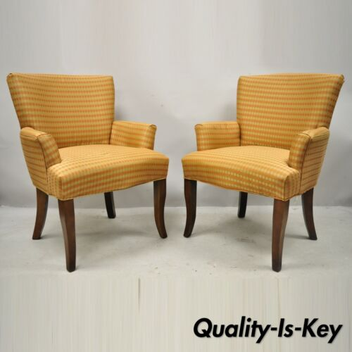 20th C. Contemporary Modern Kellex Seating Orange Upholstered Club Lounge Chairs