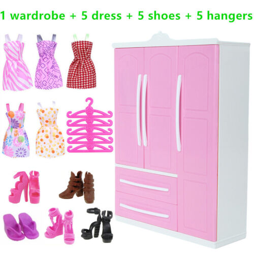 Barbie Doll Clothing Furniture Accessories Wardrobe Dress Shoes Hangers Kit Gift