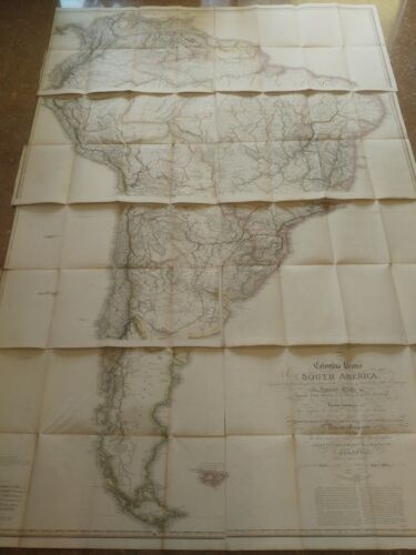 RARE map of South America 1823 Wall map William Faden