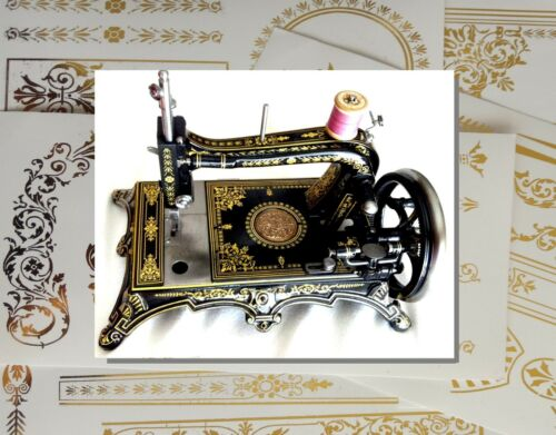 Restoration decals for antique sewing machine Rhenania or similar