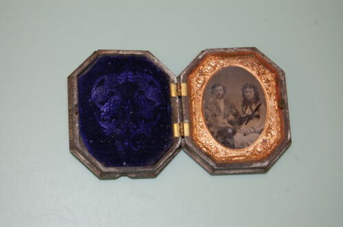 Antique Folding Hinged Picture Frame Gilded Copper And  Tintypes Photograph #1