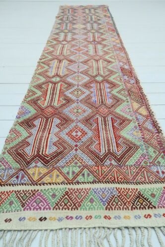"Vintage Turkish Denizli Rug Runner, Carpet Runner Hallway Rug Aisle Rug 31""X141"""