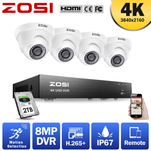 ZOSI 4K Ultra HD H.265+ 8MP CCTV Security Camera System 8CH DVR Outdoor Home 2TB