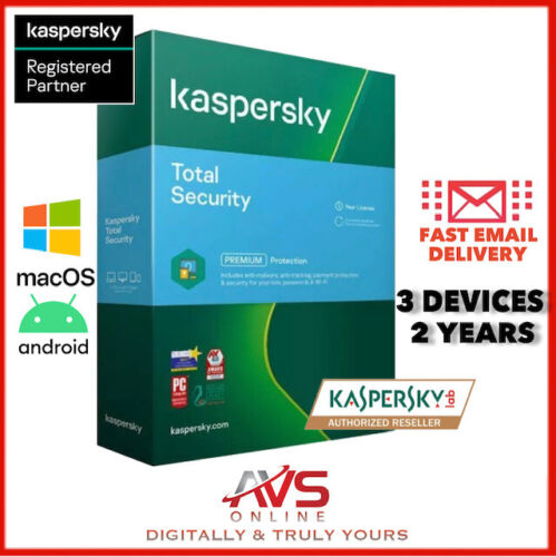 Kaspersky Total Security 2021 Antivirus 3 PC Device 2 Year Windows Mac Android