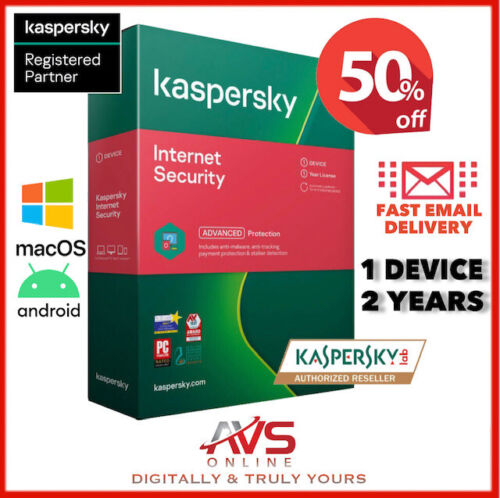 Kaspersky Internet Security 2021 Antivirus 1 Device 2 Year Windows Mac Android