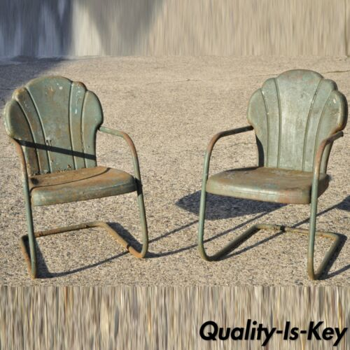 Art Deco Steel Metal Clam Shell Back Green Patio Bouncer Lounge Chairs - a Pair