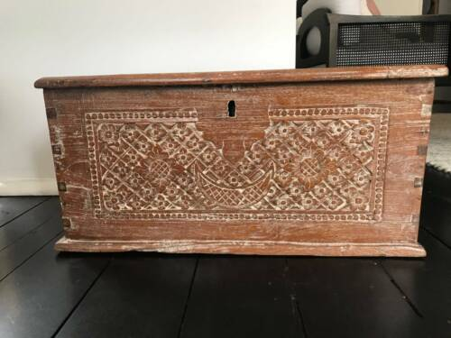 Solid hand crafted wooden chest