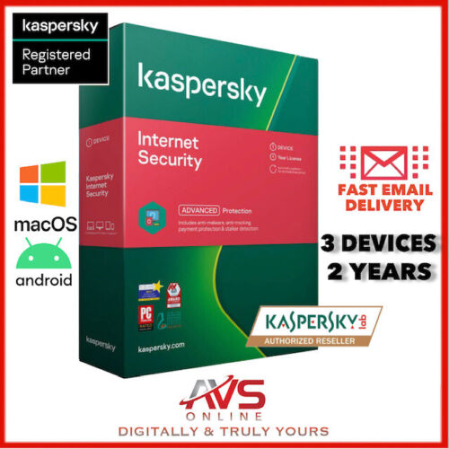 Kaspersky Internet Security 2021 Antivirus 3 Device 2 Year Windows Mac Android