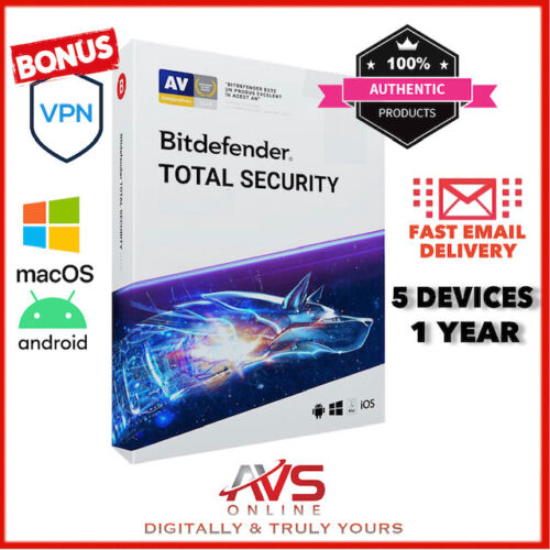 BITDefender Total Security 2021 Antivirus 5 PC Device 1 Year MULTI DEVICE GLOBAL
