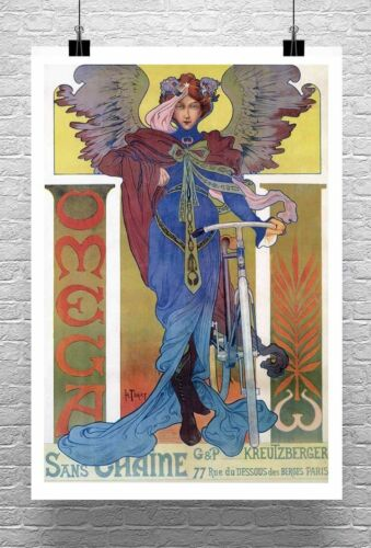 Omega Antique French Bicycle Advertising Poster Giclee Print on Canvas or Paper