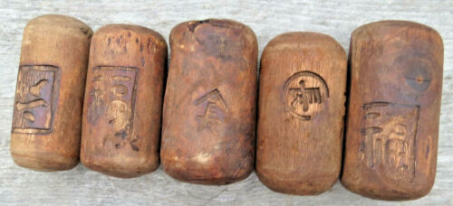 Japanese Fishing Floats WOODEN Lot-5 ANTIQUE Small Cylinder Kanji-Marked ANCIENT