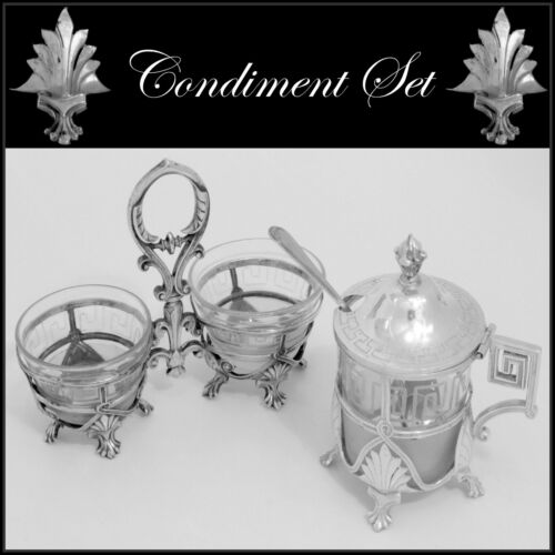 Gorgeous French Sterling Silver Baccarat Crystal Open Salt Caddy, Mustard Pot