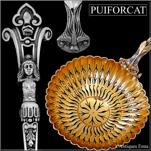Puiforcat Rare French Sterling Silver 18k Gold Sugar Sifter Spoon, Caryatid
