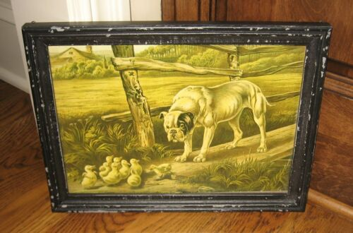 DOG & CHICKS Wood Framed Wall PICTURE *Primitive/French Country Farmhouse Decor