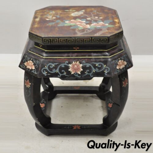 Vintage Chinese Pedestal Plant Stand Black Lacquer Bird Flower Painted Planter