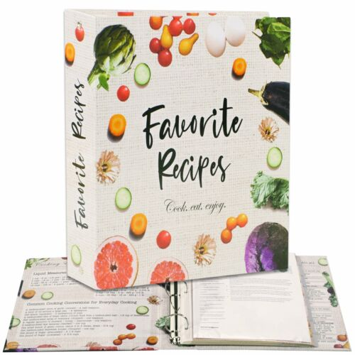 3 Ring Full Page Recipe Binder 8.5x11 In,50 Page Protectors,16 Dividers,32 Label