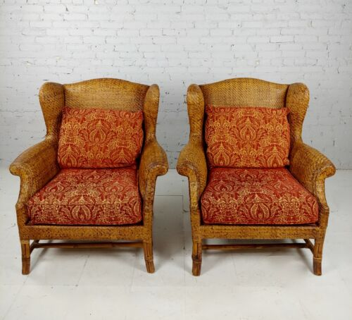 Baker Milling Road Fabulous Rattan Wingback Chairs -a Pair