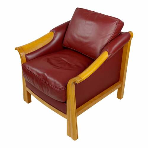 Art Deco Style Studio Club Chair w/Gorgeous Red Leather