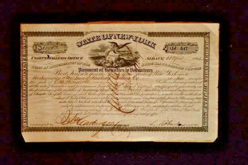 Civil War State of New York $1000 Dollar Bond Bounties to Volunteers 1865 RAREDocuments - 165589