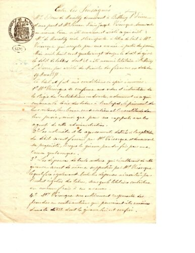 1892 French Lease Agreement Manuscript (Renewed)