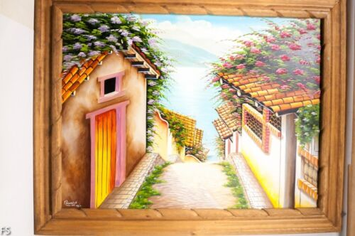 38x30 Framed Art Painting Bright Sharp Colors Houses Mexico Mexican professional