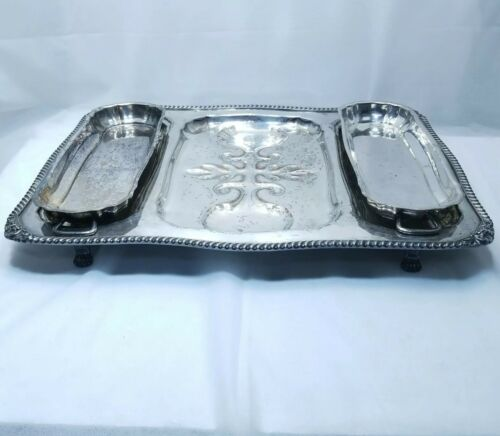 Antique Signed Silverplated 3pc Gravy Tree Serving Tray Tiger Claw Feet and Lids