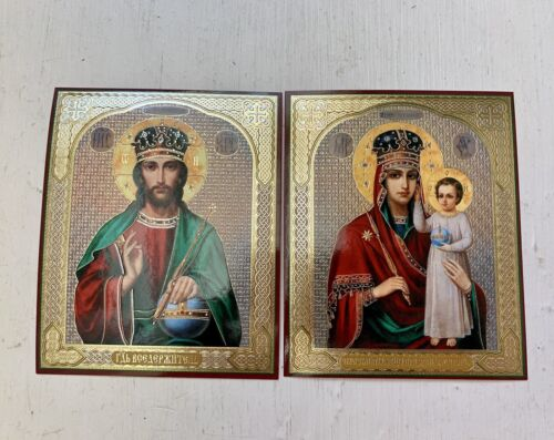 RUSSIAN ICONS x 2 , MOTHER OF GOD Look at Humility & JESUS CHRIST The SAVIOR