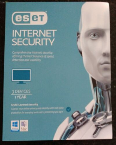 ESET Internet Security - 3 Devices, 12 Months Subscription. Windows 10 & Mac