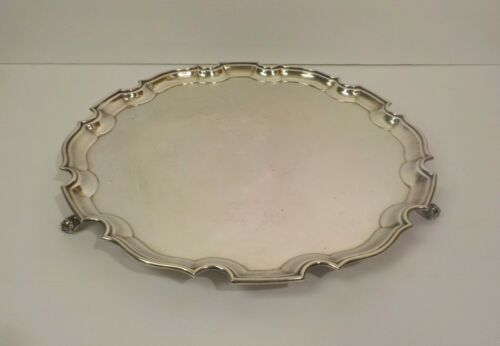 "Barker Ellis English Silver Plate 14"" Chippendale Style Footed Tray"