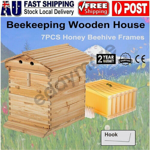 New Wooden Beekeeping Beehive House Box+ 7PCS Auto Honey Bee Comb Hive Frames AU